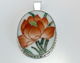 Orange Lotus Flower Pendant