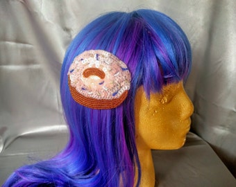 Pink Sequin and Beaded Donut/Doughnut Hair Clip - Costume Holiday Kitschy Hair Accessory