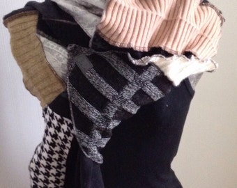 Black, grey, old recycled wool scarf pink