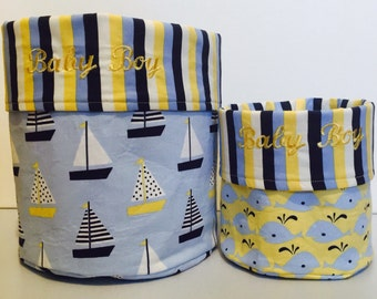 Nautical bucket, baby gift, fabric bucket