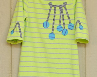 Recycled Tunic // Child // Feminine // Chartreuse and Grey Stripes with Circles and Lines