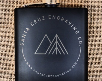 Custom Engraved Metallic Black Coated Stainless Steel Flask - 6oz
