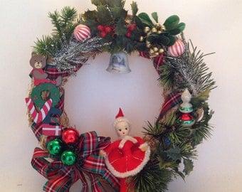 "Christmas Wreath, Wreath, Vintage, 1960s, 12"", Door Wreath, Vintage Wreath, Vintage Christmas, Christmas Decor, Christmas, Christmas Kitsch"