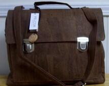 Essentials Chocolate Cork Briefcase.  Vegan fashion