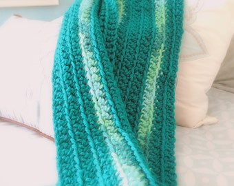 Crocheted Blue Scarf