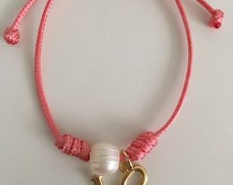 Pink Leather Love Charm Bracelet