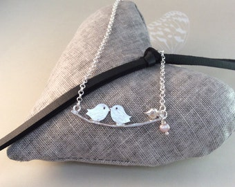 Love Birds silver Necklace, with a heart Charm, freshwater pearl, lovebirds, gifts for her