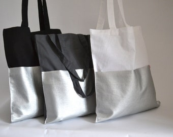 Shopper, Cottonbag, white and silver,  artificial leather, Bag, textile bag