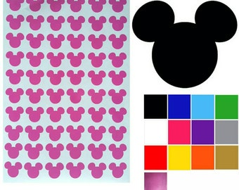 Mickey Mouse Stickers x 60. Mickey Mouse Heads. 8 Glitter Colours. Self Adhesive Easy Peel Decals. FREE UK SHIPPING.