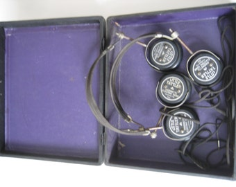 Vintage set of Little Tattler Headphones Cira 1920's (2) w/ box