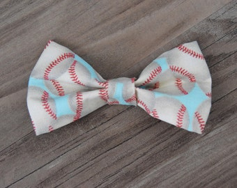 Baseball Bowtie or Hair Bow for Infants, Children, or Adults