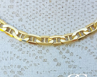 9ct Yellow Gold Diamond Cut Anchor Link 5.4mm Chain Necklace 20″ & 22″