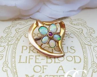 Antique Art Nouveau 15ct Gold Opal & Ruby Brooch