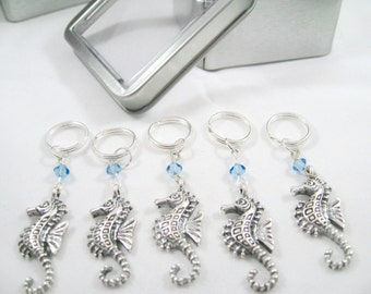 Seahorse Stitch Markers Featuring Swarovski Crystals - Free US Shipping!