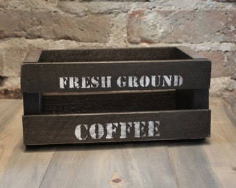 Small Wood Crate ~ Fresh Ground Coffee 9x5x4 inches