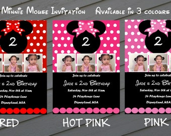 Red Minnie Mouse Invitation / Pink Minnie Mouse Invitation / Hot Pink Minnie Mouse Invitation - Printable  + Free Thank You Note