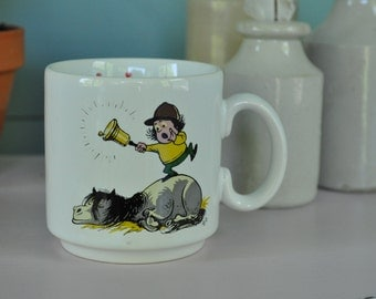 Thelwell Child's mug 1990s Gray's Pottery Pony and rider design FREE UK SHIPPING