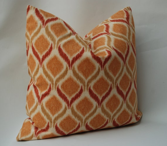 20 Decorative Pillow Rust Red and Gold Linen Fabric