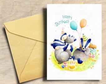 Birthday Card - Badger Birthday Card - Happy Birthday