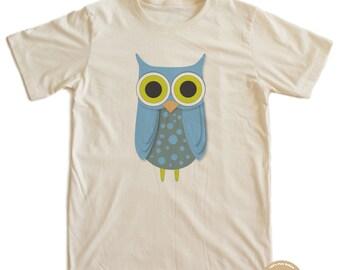 Blue Owl T-shirt 100% Organic Cotton