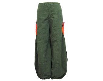 Boho Hippie Gypsy 2-Pocket Elastic Leg Opening Long Pants (F1143)