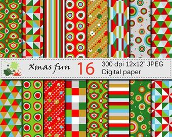 Christmas Fun Digital Paper Set, Christmas Geometric Digital papers, Red Green Gold Silver Scrapbook Printable Paper, Digital Download