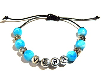 Name bracelet turquoise with flowers, silver beads