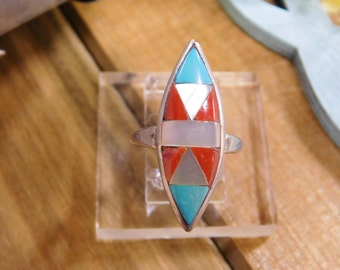 Turquoise and Coral Inlay Sterling Silver Ring