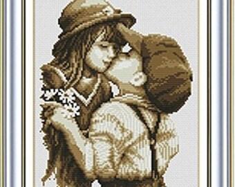Cross stitch Printed kit First kiss