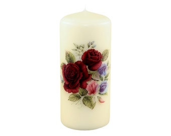 Ruby Roses Pillar Candle