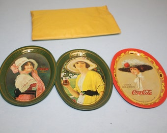 Vintage Coca Cola Trays 1973- Set of 3 small oval  trays