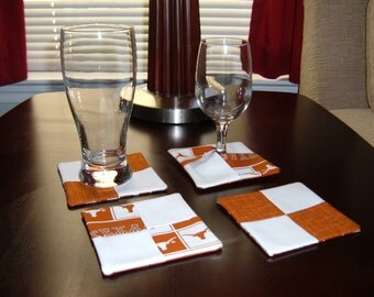 Coasters, Texas Longhorns Coasters, Linens, Texas Longhorns, Longhorns, University of Texas Longhorns