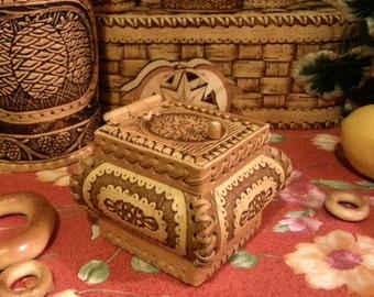 Birchbark jewelry box very beautiful
