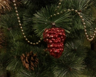 Vintage Christmas tree ornament USSR. Glass red berry