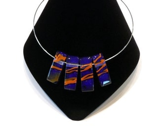 Dichroic Glass Necklace in Cobalt Blue and Orange