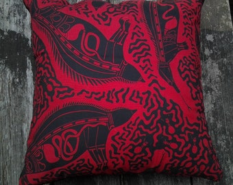 Cushion Cover B3 - Red & Black Print 40x40