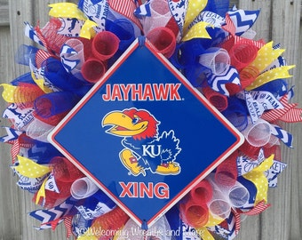 Jayhawks Wreath, KU Wreath, University of Kansas Jayhawks Wreath, Jayhawks Deco Mesh Wreath