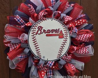Atlanta Braves Wreath, Braves Baseball Wreath, Atlanta Braves Deco Mesh Wreath