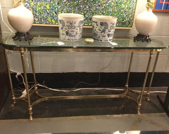 Mid century Brass and oval Glass with Hoofed legs