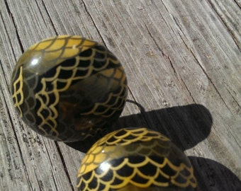 Snake Mad Men Style Wood Button Clip Earrings
