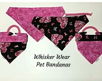 reversible~ pet bandana~ pet scarf~ 2 in 1 pet wear~ breast cancer awareness~ knotty girl~ pink power~ pet wear~pet clothes, 100% donation