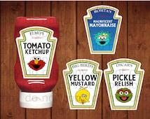 Sesame Street condiment labels, Elmo's tomato ketchup, Rosita's magnificent mayonnaise, Oscar's pickle relish, Big   Bird's yellow mustard