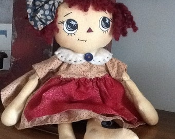 Handmade fabric doll primitive country
