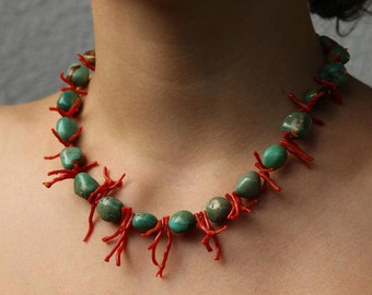 Branch coral necklace | Turquoise
