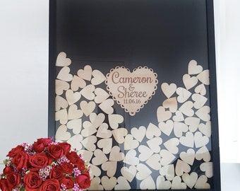 Shabby Chic Wooden Guest Book dropbox LARGE, Frame Wedding Engagement 170 hearts, BLACK FRAME