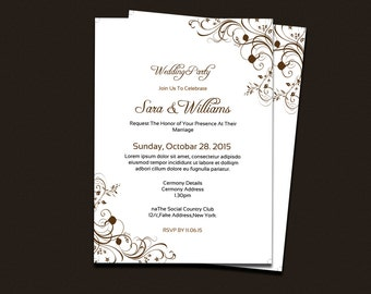 Wedding Invitation Template | DIY Wedding Invitation Printable  | Editable Microsoft Word Template | Instant download | I-112