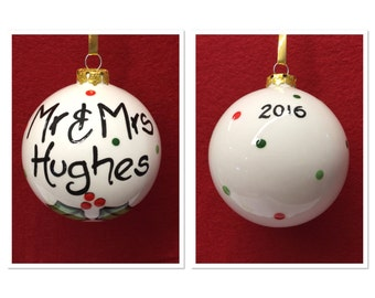 Personalised Couples Mr and Mrs Christmas Bauble