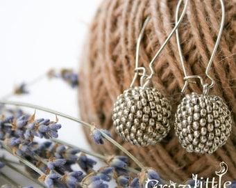 Silver dangle earrings Minimalist earrings beaded earrings Silver earrings Round everyday earrings Inspirational jewellery Bridesmaid gift