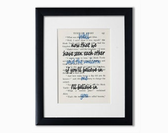 """Alice In Wonderland Recycled Book Page Print.Book Quote.Birthday Gift.""""Well Now That We Have Seen Each Other Said The Unicorn.""""Wall Art.Gift"""