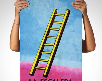 Loteria La Escalera Mexican Retro Illustration Art Print Vintage Giclee on Cotton Canvas and Paper Canvas Poster Wall Decor